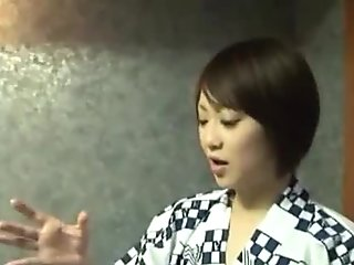 Japanese babes rubs dick through wall